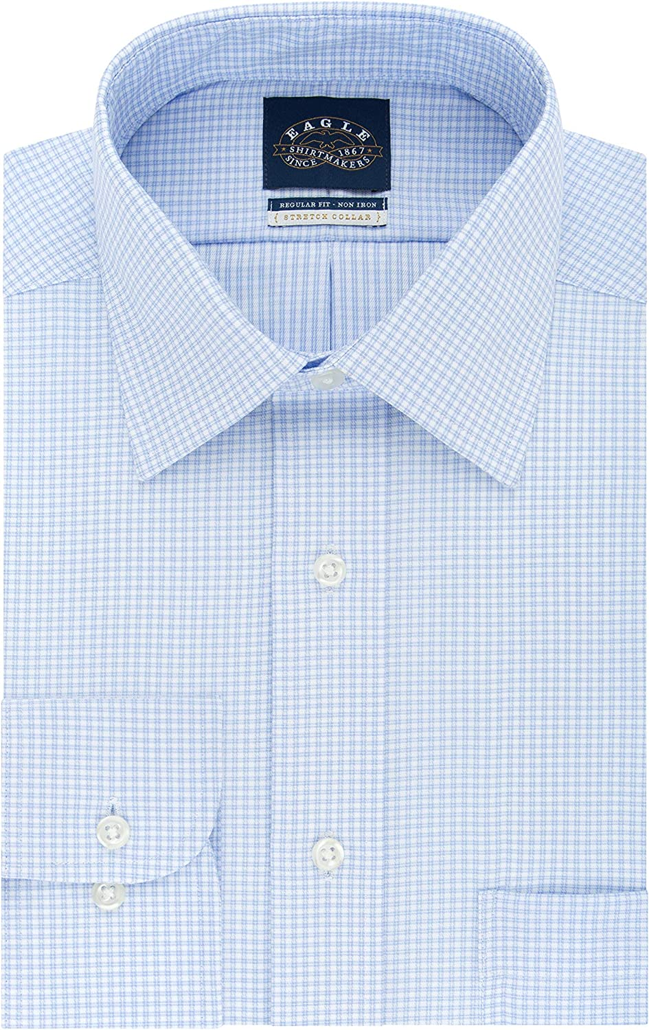 Eagle Mens Stretch Regular Fit Check Spread Collar Dress Shirt