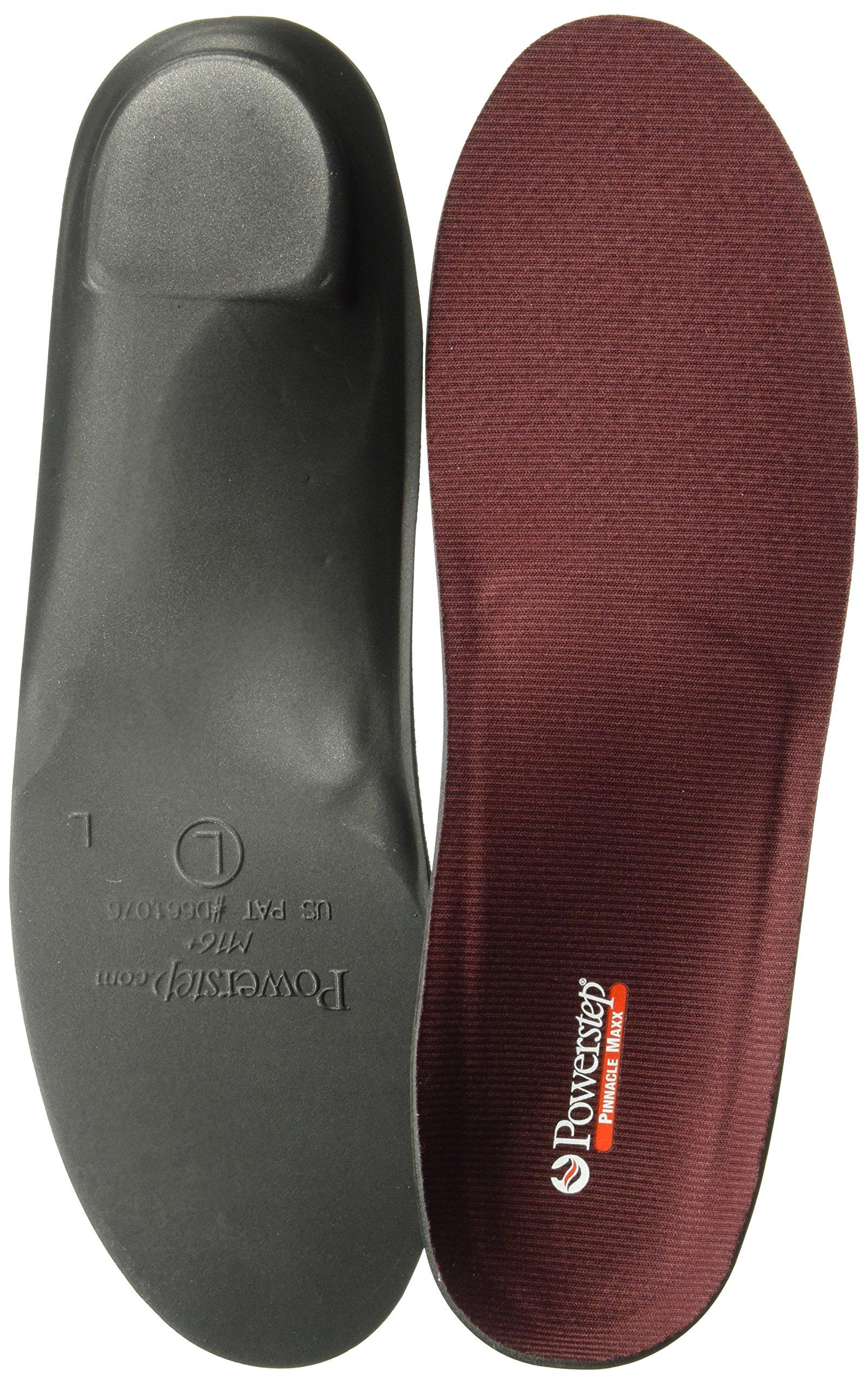 Powerstep Pinnacle Maxx Full Length Orthotic Shoe Insoles, Maroon/Black, Men's 10-10.5/Women's 12 M US