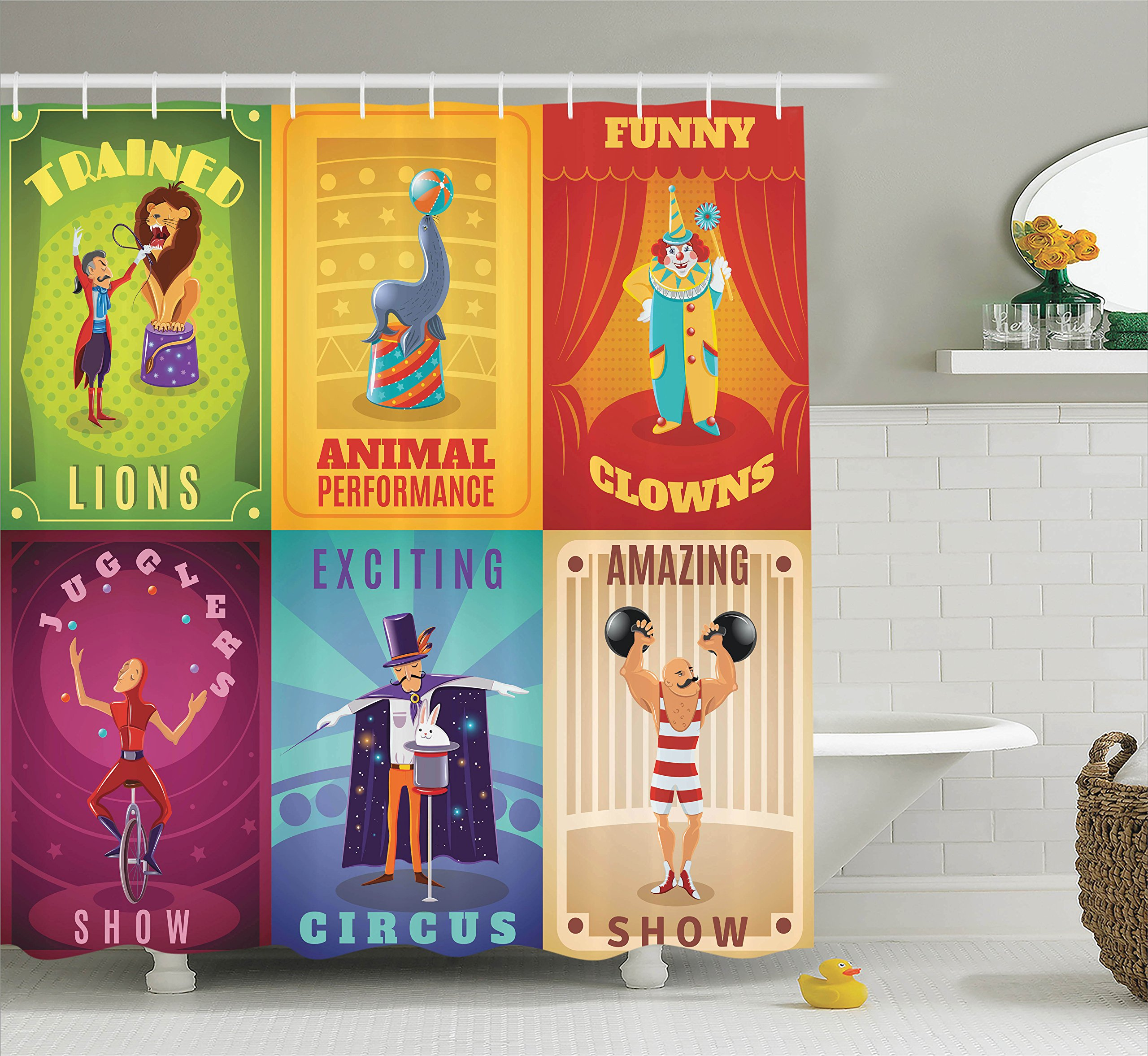 Ambesonne Circus Decor Shower Curtain Set, Circus Characters with Trained Animals The Strong Man Trapeze Artist Retro Show Design, Bathroom Accessories, 69W X 70L Inches, Multi by Ambesonne