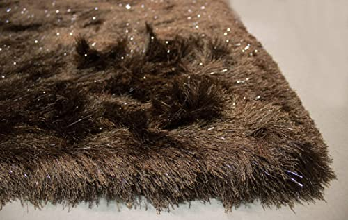 8×10 Feet Brown Color Solid Plush 3D Pile Decorative Designer Area Rug Carpet Bedroom Living Room Indoor Shag Shaggy Shimmer Shiny Glitter Furry Flokati Plush Pile Modern Contemporary