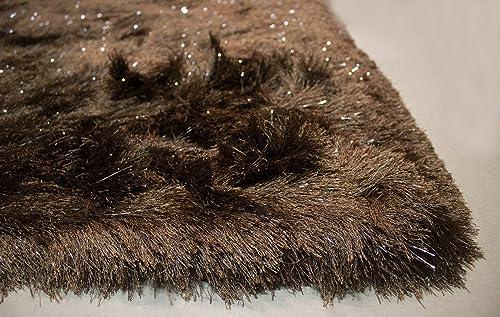 8x10 Feet Brown Color Solid Plush 3D Pile Decorative Designer Area Rug Carpet Bedroom Living Room Indoor Shag Shaggy Shimmer Shiny Glitter Furry Flokati Plush Pile Modern Contemporary