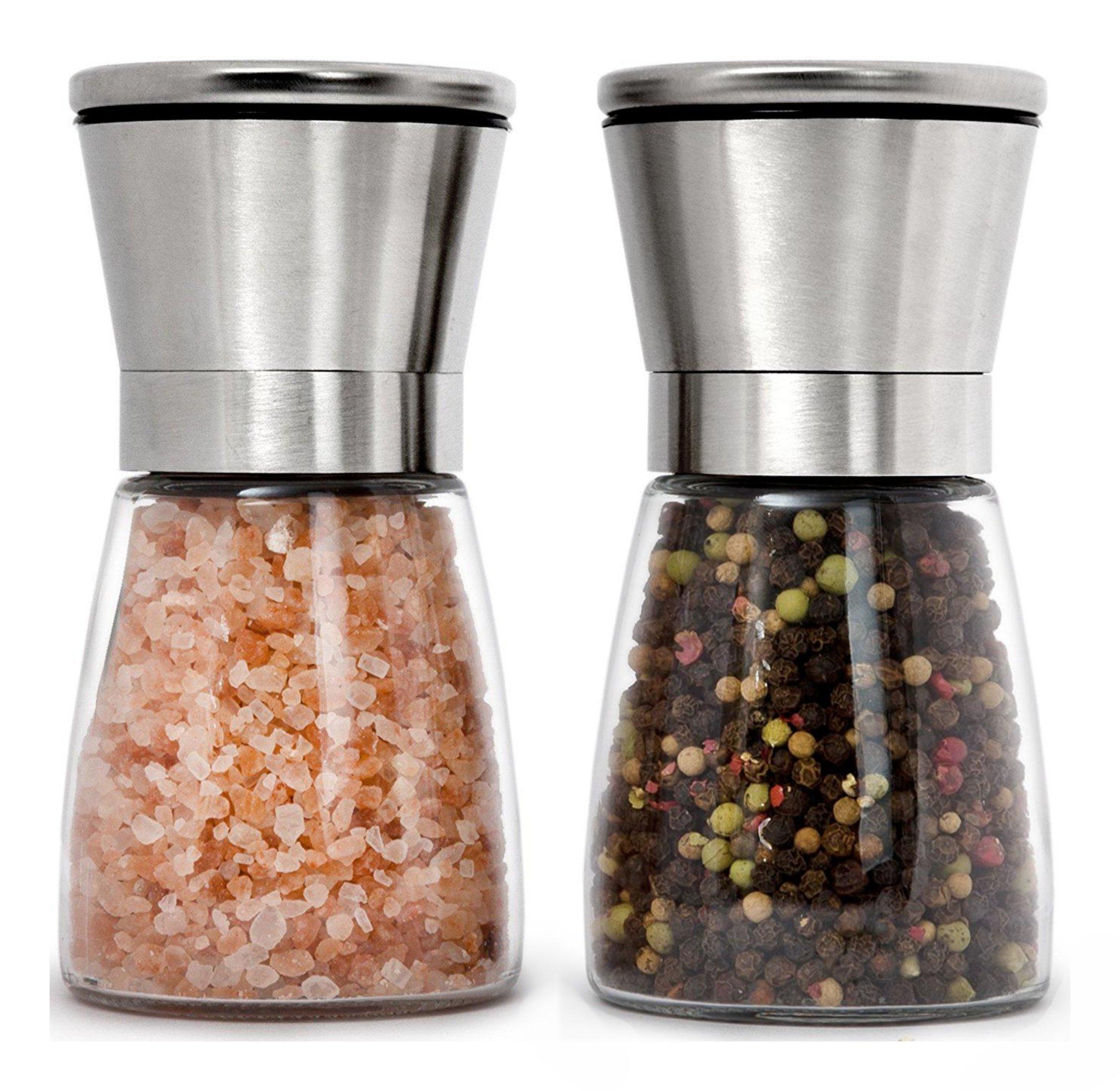 Premium Stainless Steel Salt and Pepper Grinder Set of 2 - Adjustable Ceramic Sea Salt Grinder & Pepper Grinder - Short Glass Salt and Pepper Shakers - Pepper Mill & Salt Mill with Free Funnel & EBook