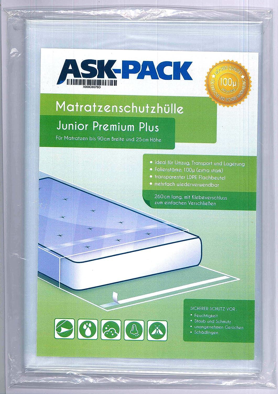 ASK Pack Bolsa de Colchón Junior Premium para un Colchón de 90cm de Ancho / 25cm Grosor/y hasta 220cm Largo - con Cierre Adhesivo - Reutilizable - Extra Fuerte 100µ