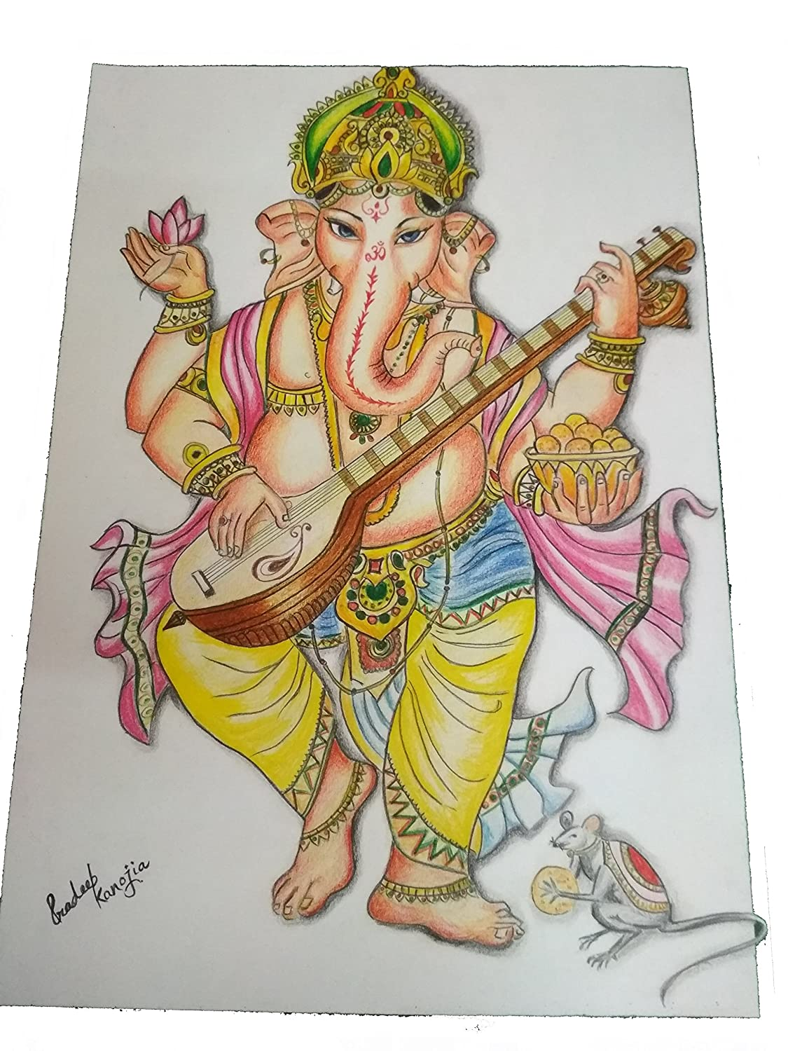 Buy Magpie Document Bag Ganesha Handmade Colour Pencil Drawing On A3 Sheet With Photo Frame Multicolour Online At Low Prices In India Amazon In