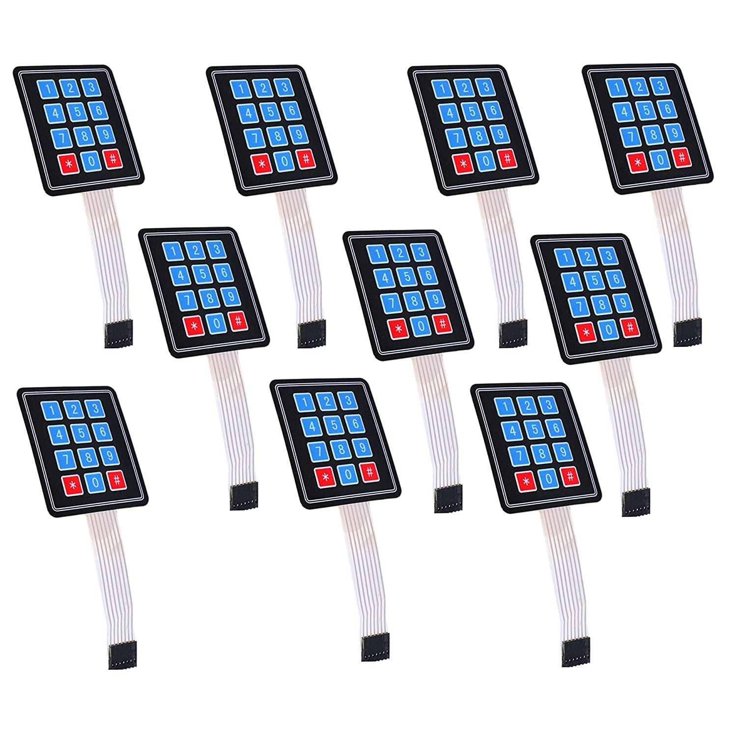 10pcs 3x4 Membrane Switch Matrix Keypad Thin and Flexible with Cable Connector and Adhesive Back for Easy Surface Attachment from Optimus Electric WiderCable S10-EAN0616639916546