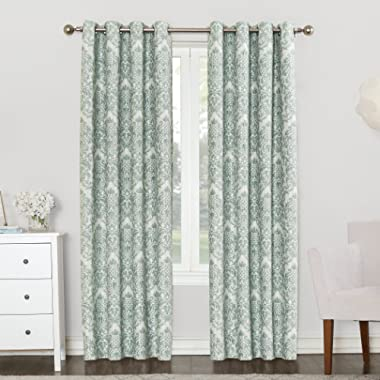 Sun Zero Caroline Woven Damask Blackout Lined Grommet Curtain Panel, 52  x 63 , Aqua