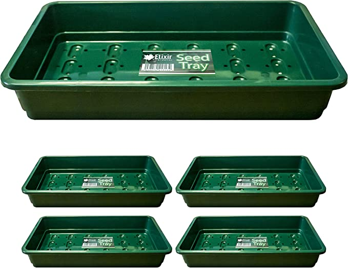 Elixir Gardens Heavy Duty Plastic Seed Trays   Standard Full Size   Green x 5: Amazon.co.uk: Garden & Outdoors