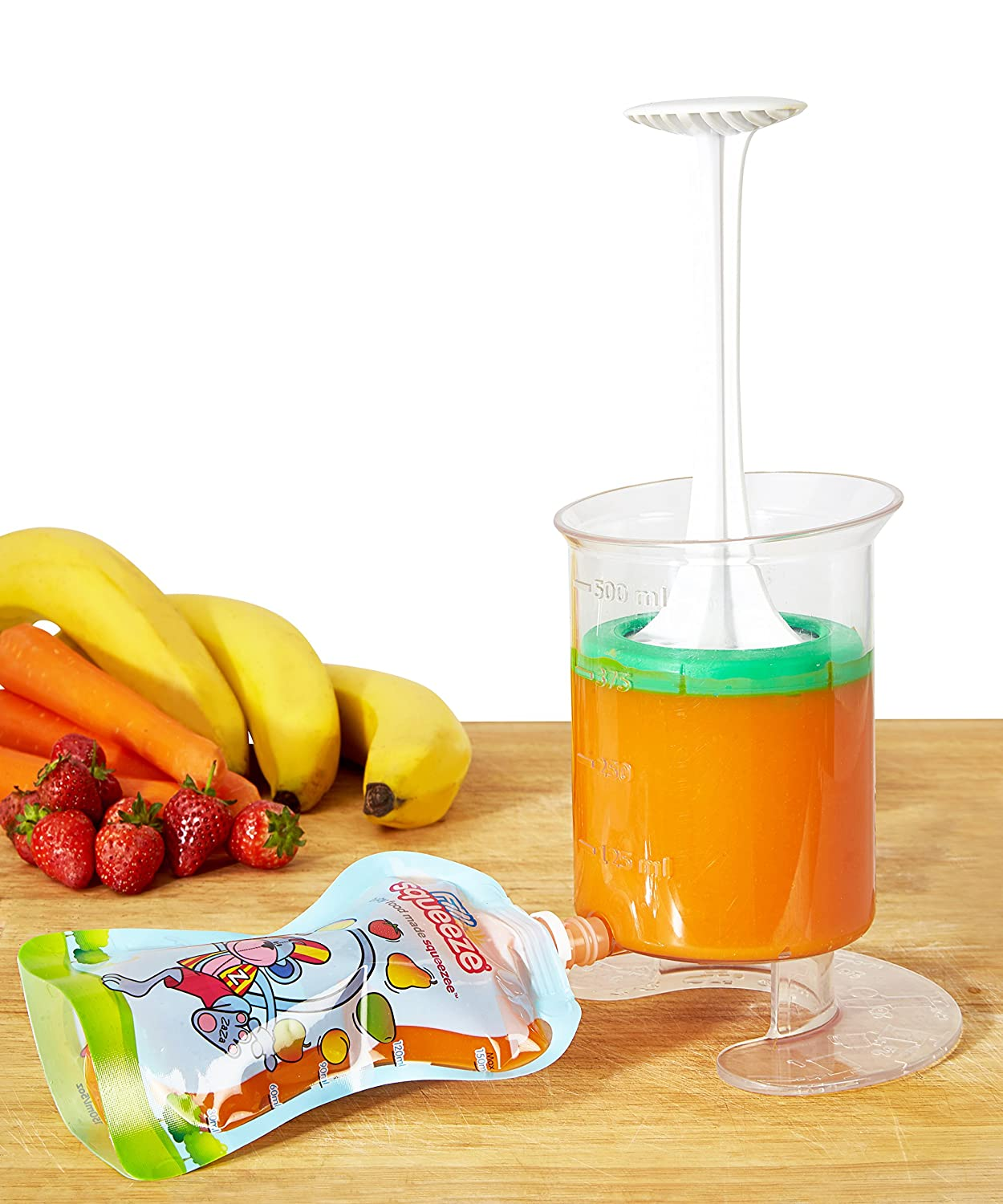 Baby Food Maker | Baby Food Mill and Masher with resqueeze Reusable Food Pouch for Freezer Storage - Blends Healthy Homemade Baby Food in Minutes | Mom Invented - Baby Led Feeding | Fill n Squeeze