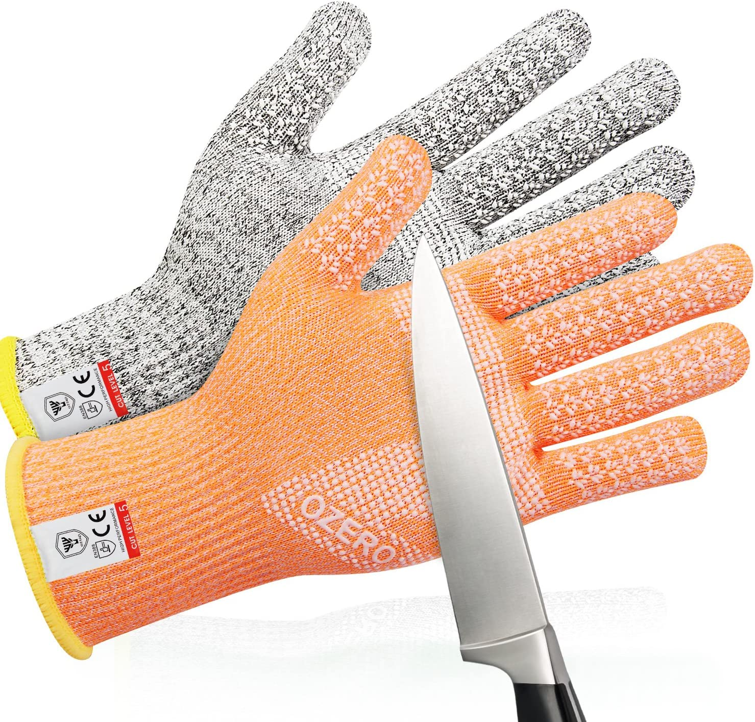 Cut Resistant Gloves Meat Cutting Food Processing Safety Kitchen Gloves, Grey+Orange/M