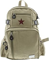 Girls - Khaki Mini Rucksack Red Star Vintage Canvas School Backpack with Army  Universe Pin 02d374465c6