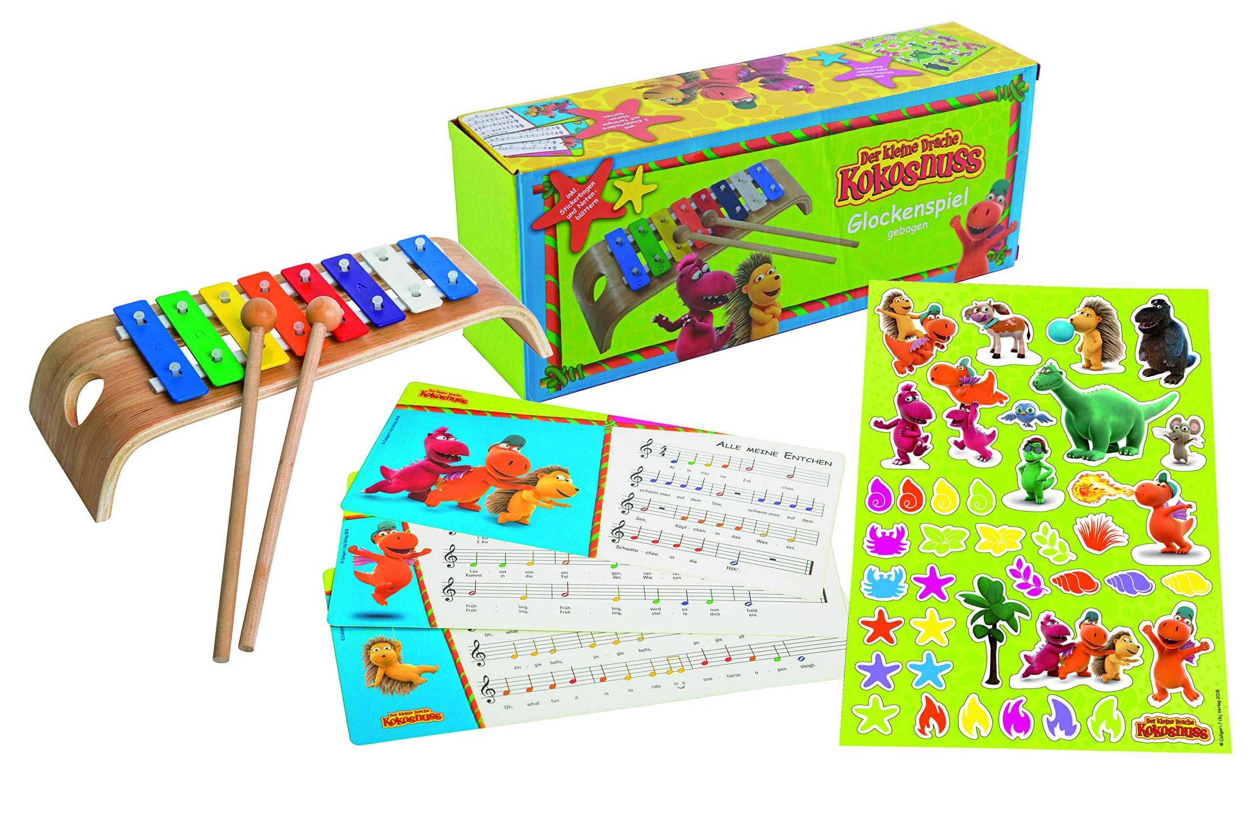 Dragon Coconut Glockenspiel Curved with 2 Beaters, Colourful Note Cards and Stickers to Decorate