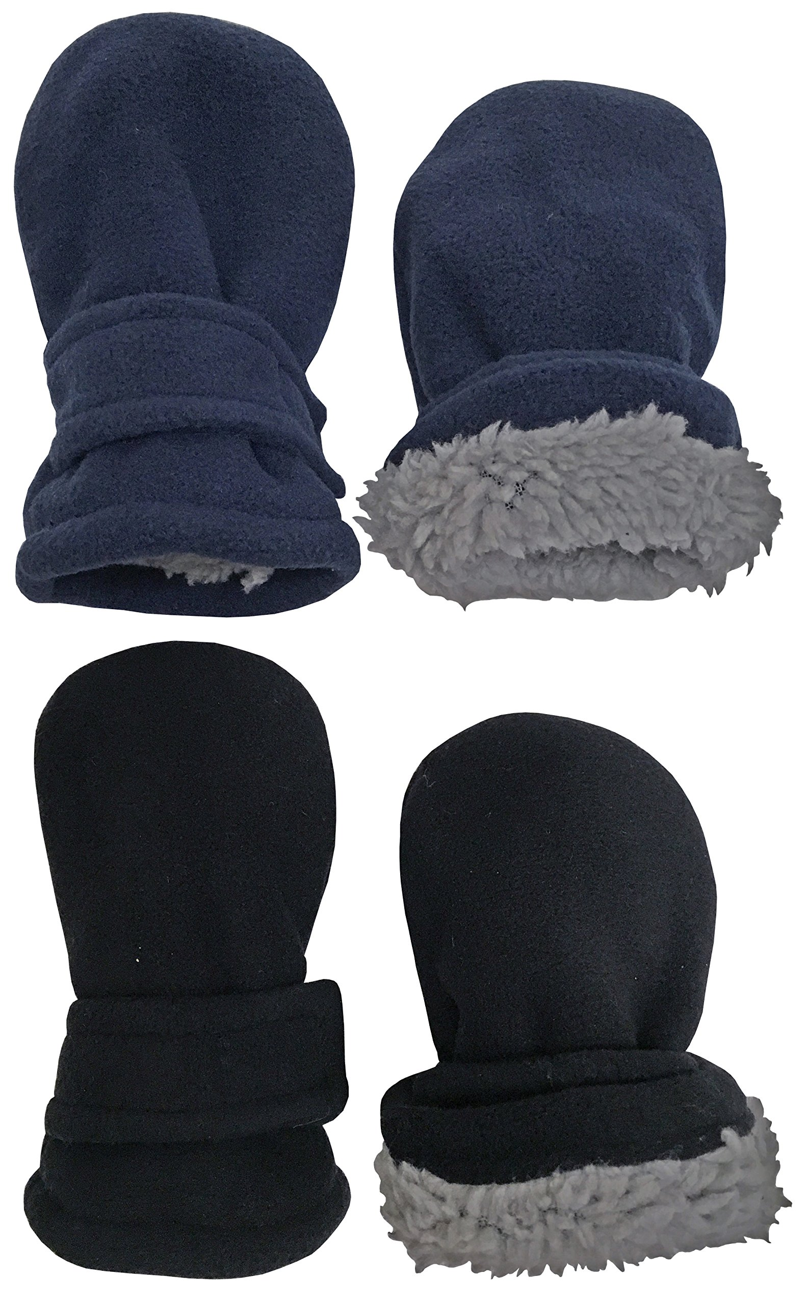 N'Ice Caps Little Kids and Baby Easy-On Sherpa Lined Fleece Mittens - 2 Pair Pack (6-18 Months, Black/Navy Pack - Infant No Thumbs) by N'Ice Caps