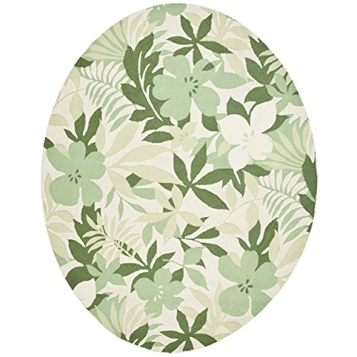 Safavieh Berkeley Collection BK126A Handmade Beige and Green Premium Wool Oval Area Rug 7 6 x 9 6 Oval
