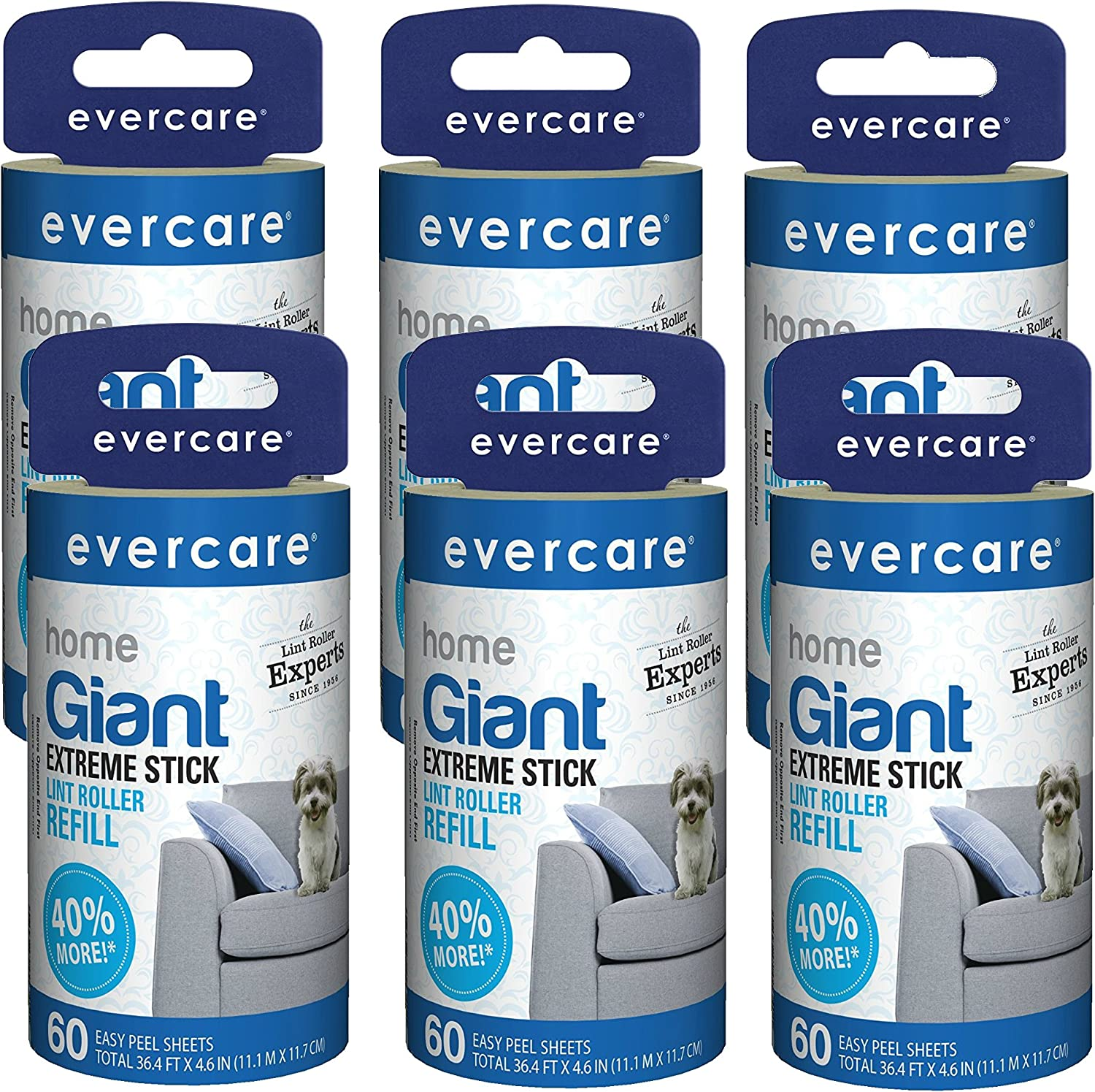 Evercare Giant Adhesive Lint Roller REFILL - 6 pack