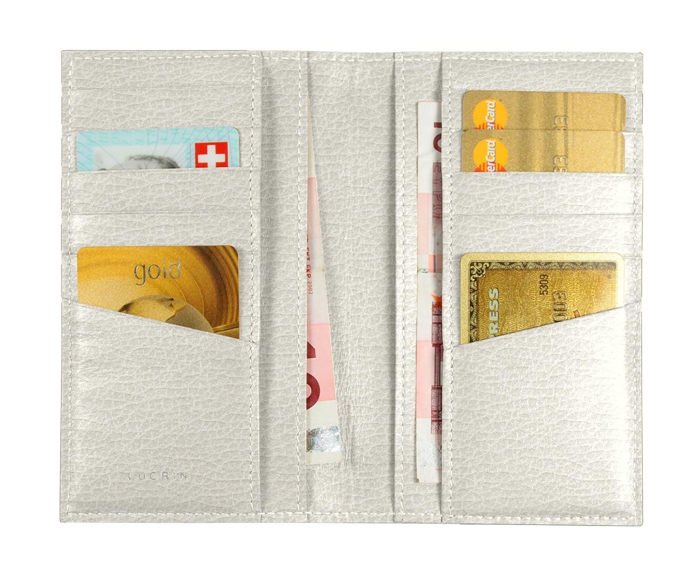 Lucrin Porte Carte de Crédit avec Poches pour Billets Cuir Vachette Grainée 18 cm Marron (Cognac) PM1343_VCGR_CGC