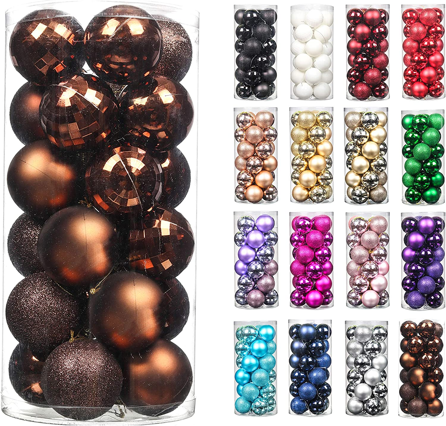 24pcs 2.36in Christmas Decoration Balls Shatterproof Color Set Ornaments Balls for Festival Wedding Home Party Decors Xmas Tree Hanging (Coffee)
