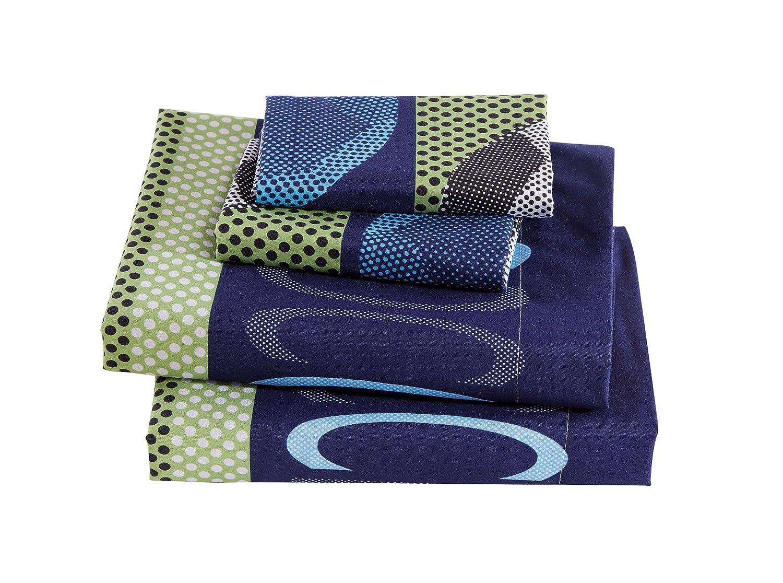 Mk Collection 4pc Full Sheet Set Soccer Light Blue Green Navy Blue White Black New