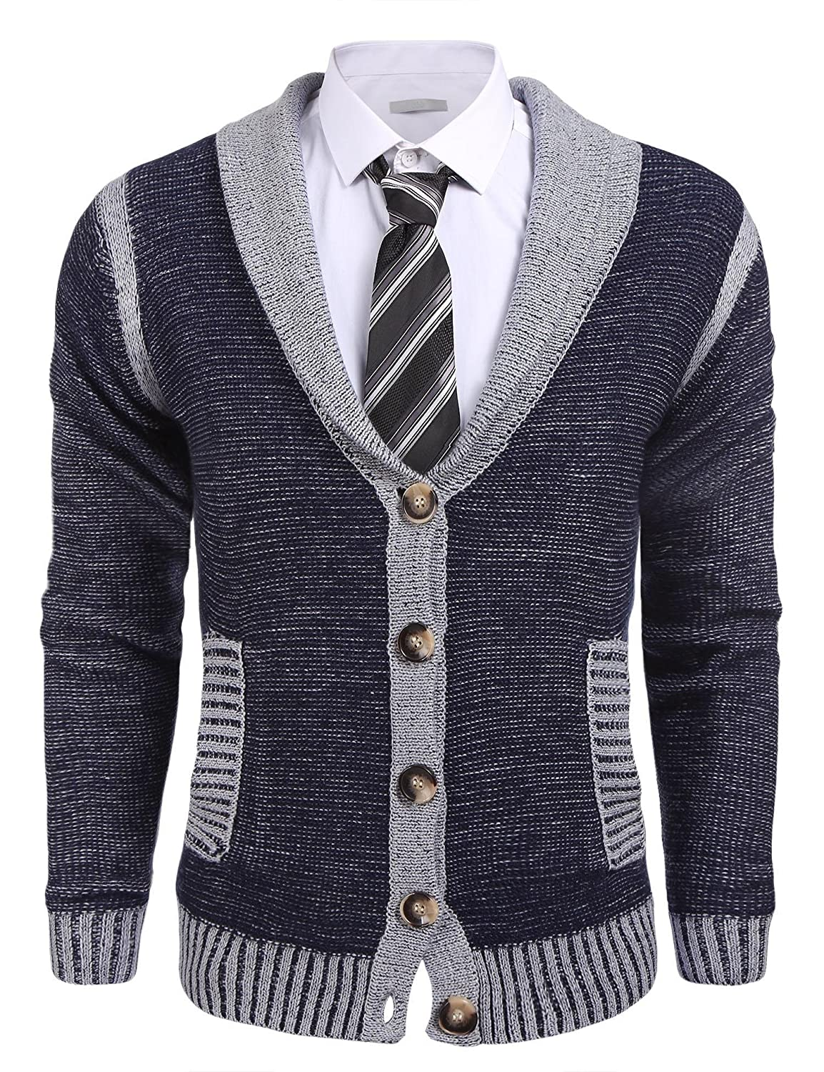 Ohoo Mens Slim Fit shawl Collar Knit Cardigan With Elbow Patch at ...