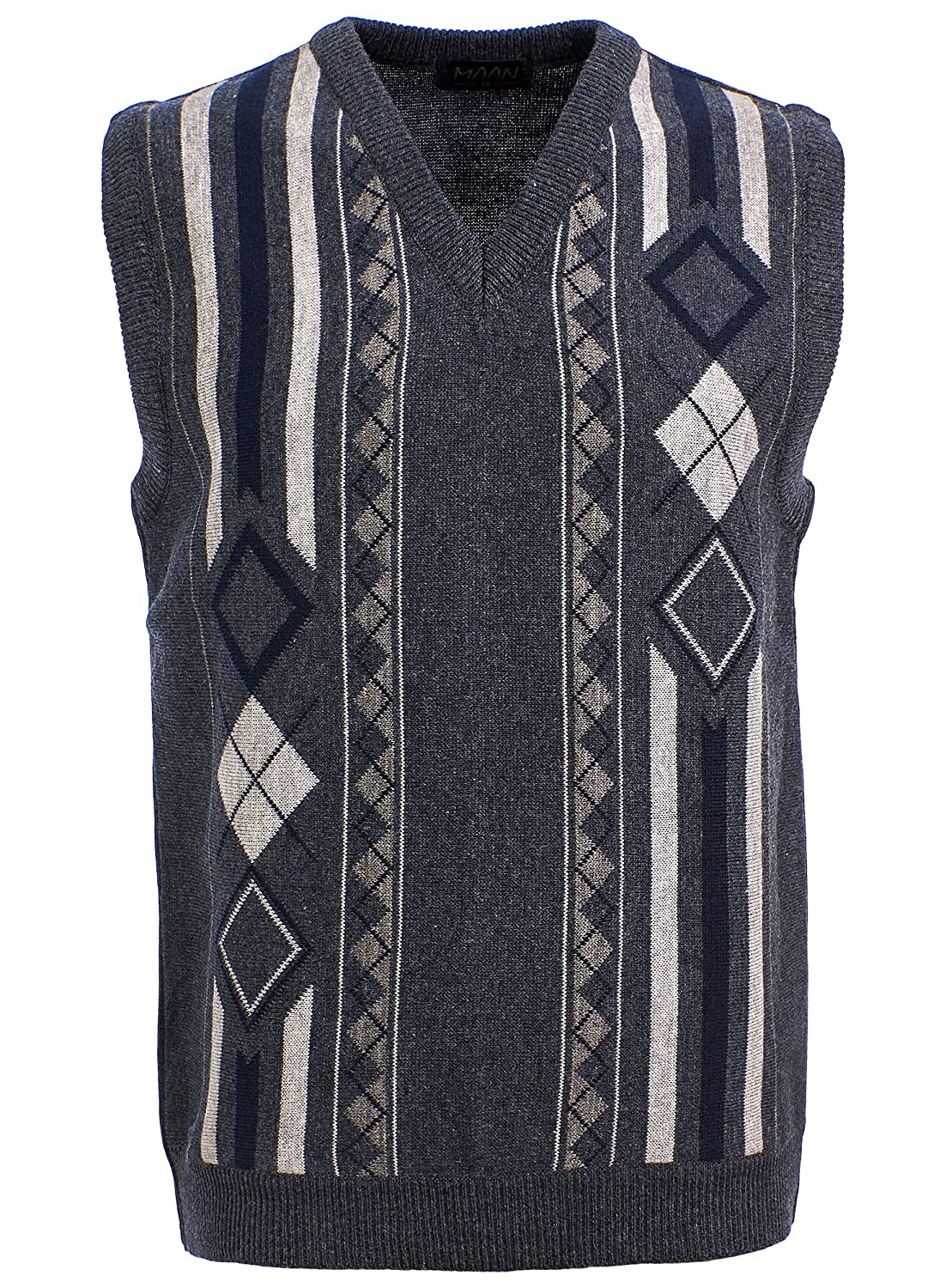 Men's Vintage Style Clothing Mens Knitted Sleeveless Tank Top V Neck Knitted Slipover Diamond Pattern £20.95 AT vintagedancer.com