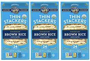 Lundberg Thin Stackers Organic Rice Cakes Lightly Salted Brown Rice Pack of 3