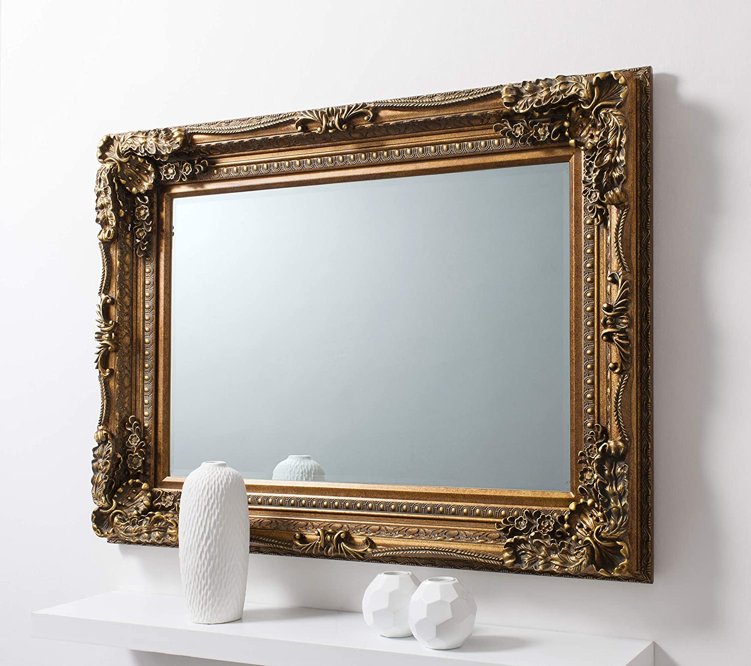 Barcelona Trading Carved Louis Gold Ornate French Frame Wall/Over Mantle Mirror - 35in x 47in Mirroroutlet