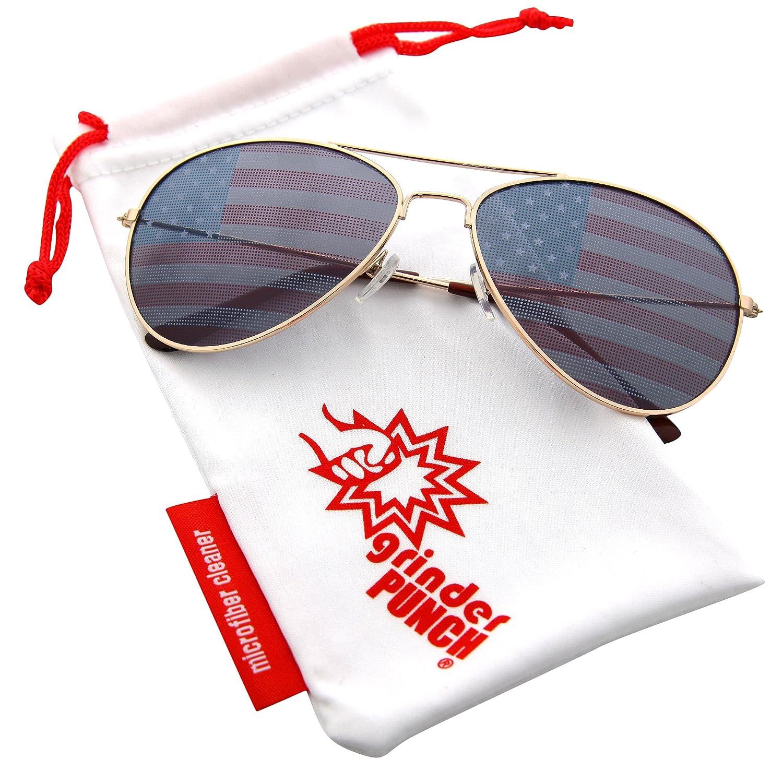 812edf7e0f Amazon.com  grinderPUNCH American Flag Aviator Sunglasses Glasses Blue Color   Clothing