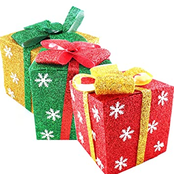 set of 3 christmas light up gift boxes parcel holiday party decorations not included led