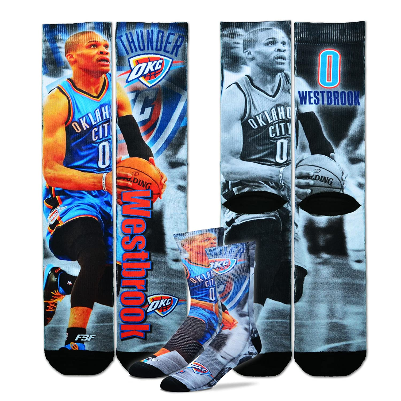 Russell Westbrook #0 Oklahoma City Thunder Youth Size NBA Drive Crew Kids Socks 1 Pair 4-8 YRS