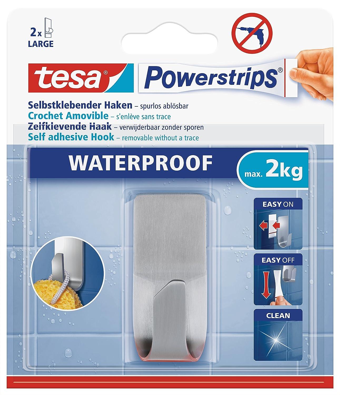 tesa UK Powerstrips Waterproof Hook with Removable Adhesive Strips, Rectangular - Stainless Steel 59707-00000-04