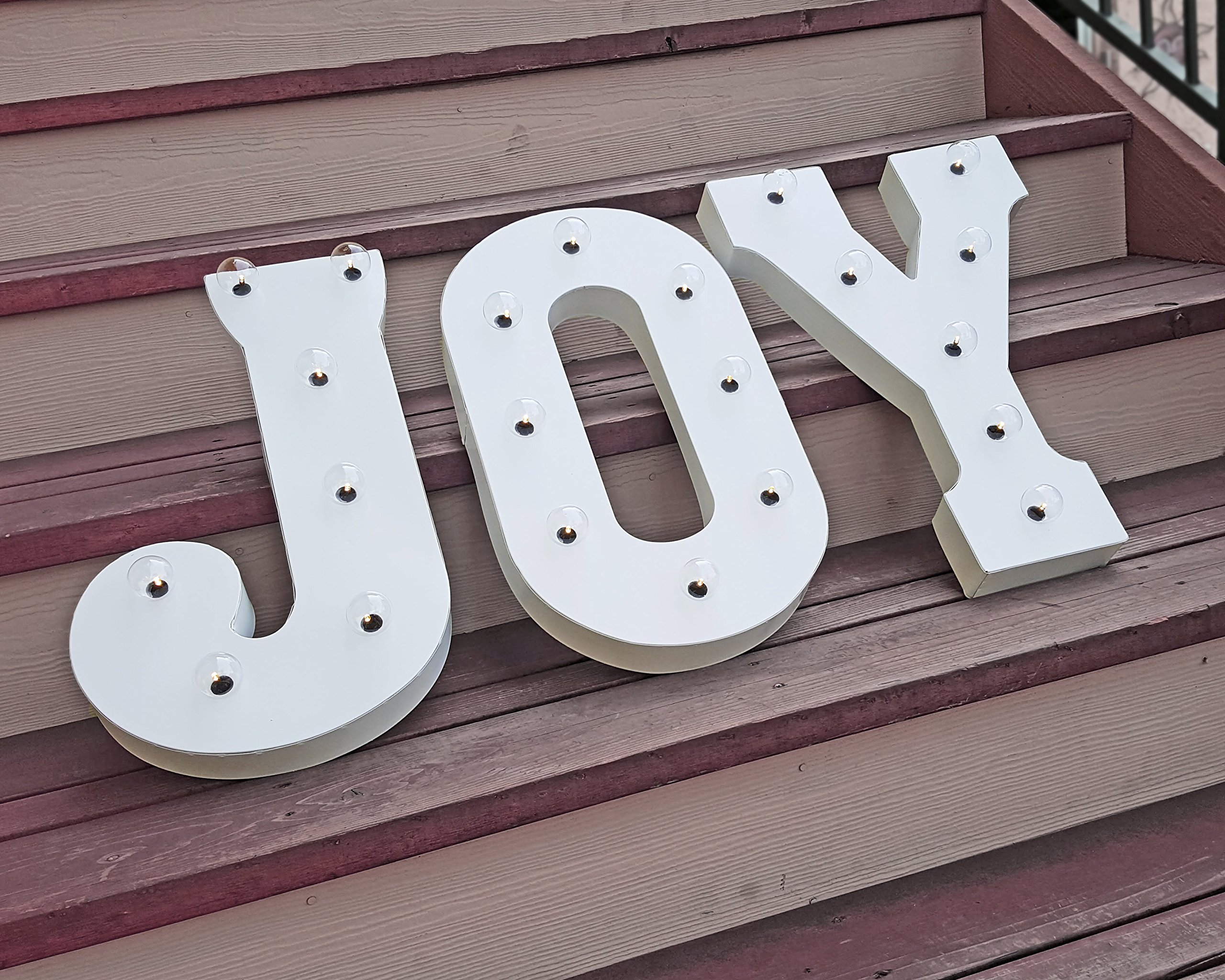 JOY - 21'' Battery Operated Marquee Vintage Style Holiday Christmas Sign Light - 14 COLORS!