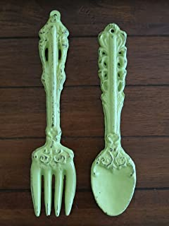 Fork And Spoon Wall Hanging/ Apple Green Or Pick Your Color/Rustic Kitchen  Wall Part 85