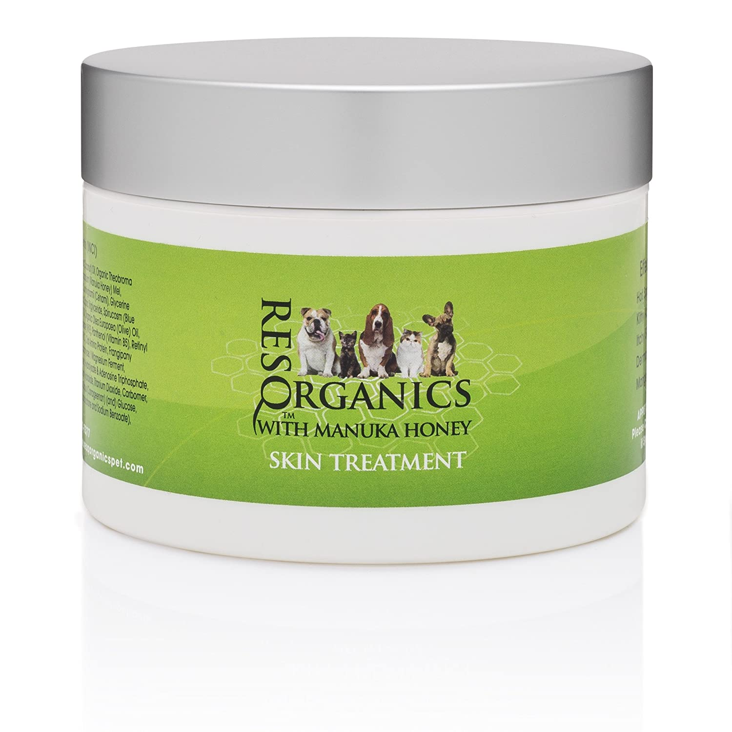 ResQ Organics Pet Skin Treatment - Effective For Hot Spots, Mange, Itchy Skin, Allergies, Dry Nose, Cracked Paws, Promotes Hair Growth.