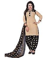 Om Women's Cotton Salwar Suit (Otc710_Black_Free Size, Unstitched)