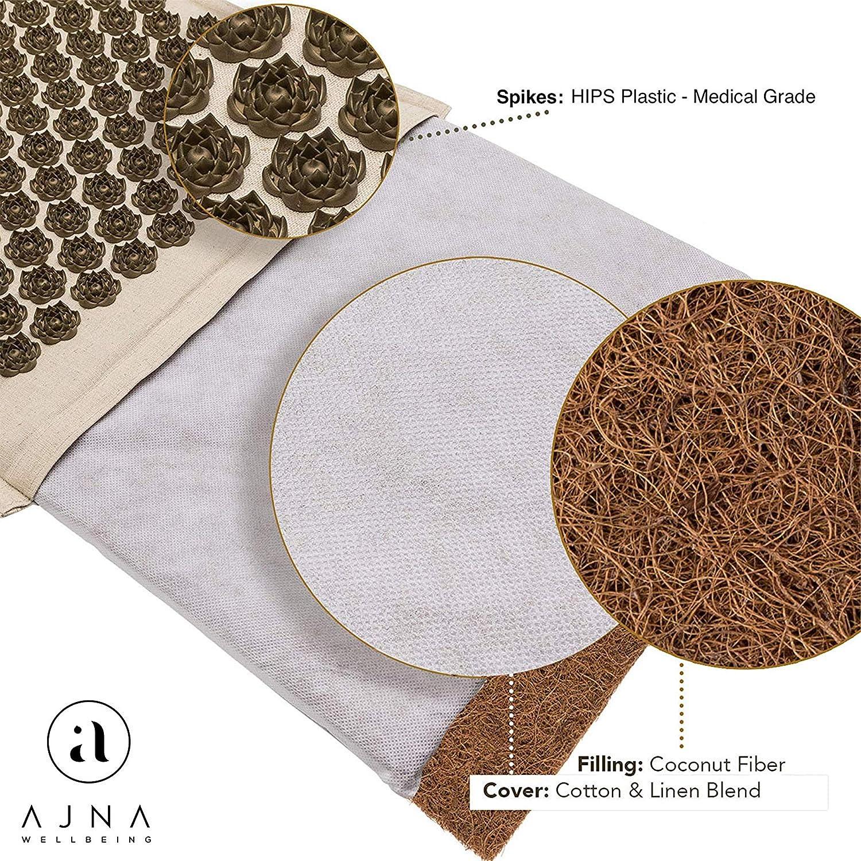 Acupressure Mat for Massage - Natural Organic Linen Cotton Acupuncture Mat & Bag - Natural