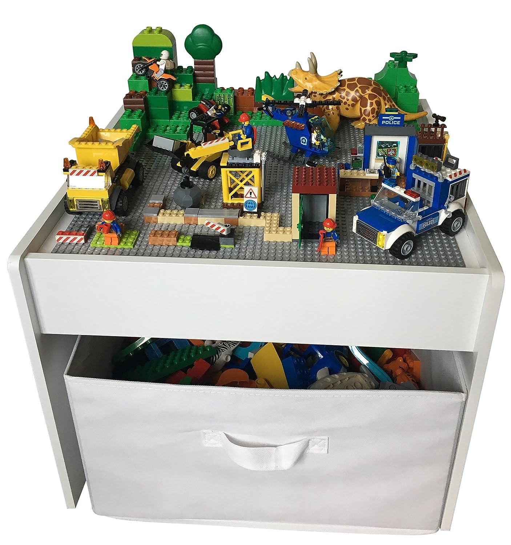 planches de construction compatibles pour blocs de construction LEGO Table de jeu Fridakids 2 en 1 en bois MDF y compris bo/îte de rangement Couleur: Gris