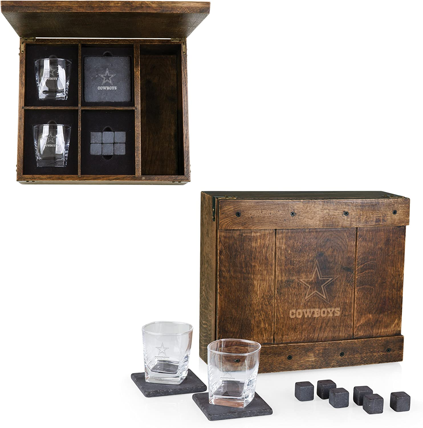 PICNIC TIME NFL Dallas Cowboys Whiskey Box Gift Set with Service for Two