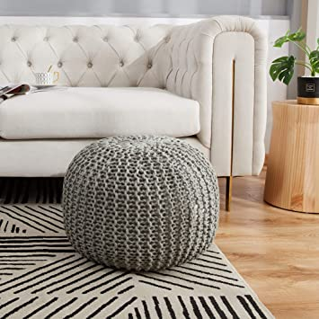 chunky footstool footrest cotton floor pouf knitted pouf ottoman,yoga pillow chunky big cotton pouffe footstool big knit pouffe