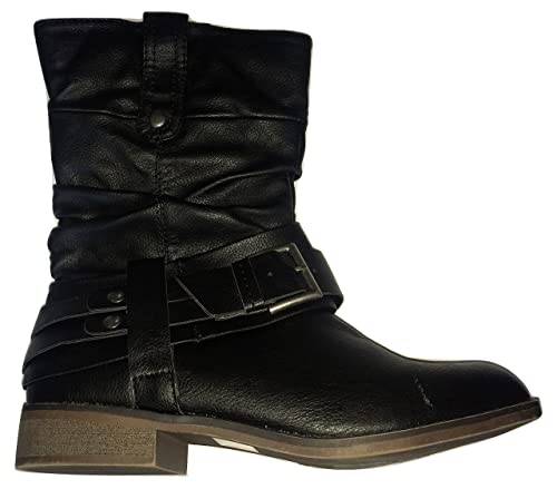 35e8fc545f3 Dune Leather Look Big Buckle Tall Ankle Boots Black: Amazon.co.uk ...