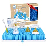 Baby Bottle Drying Rack in Blue – Large Kids Dish Dryer Stand and Drainer Mat