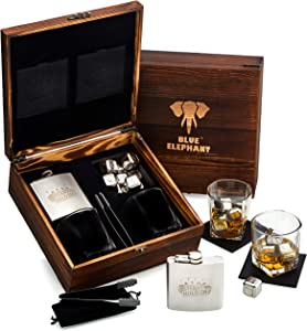Poker Whiskey Stones Gift Set, 8 Chilling Stones, 2 Glasses, 1 Flask, Tongs, and 2 Coasters with Gift Box, Texas Hold'em Gifts for Men - Whiskey Glassware in Wooden Gift Box