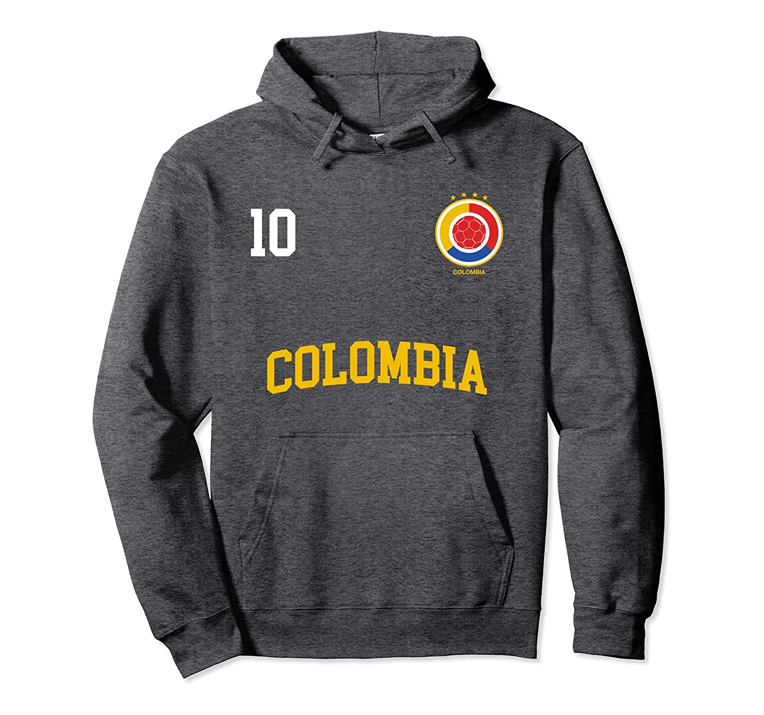 2750e4cd231 Colombia Soccer Hoodie No. 10 Colombian Flag Camiseta Futbol-alottee gift
