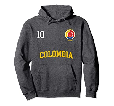 Unisex Colombia Soccer Hoodie No. 10 Colombian Flag Camiseta Futbol 2XL Dark Heather