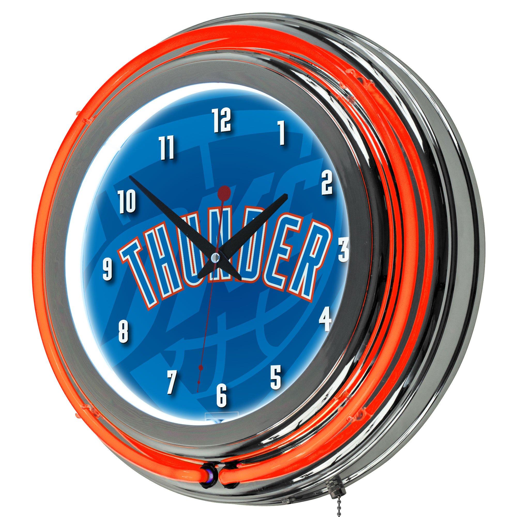 Trademark Gameroom NBA1400-OCT2 NBA Chrome Double Rung Neon Clock - Fade - Oklahoma City Thunder