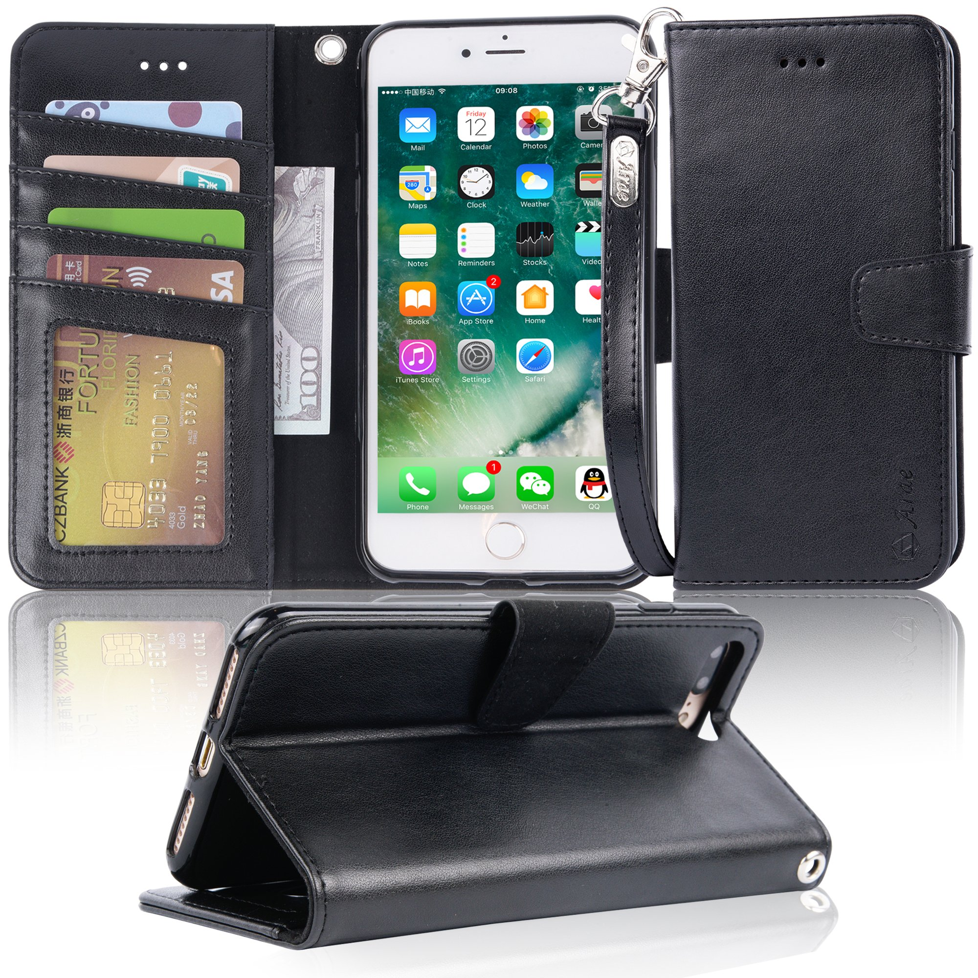 iphone 7 plus case, iPhone 8 plus case, Arae PU leather wallet Case with Kickstand and Flip Cover for iPhone 7 plus (2016)/iPhone 8 plus (2017) - Black by Arae (Image #1)