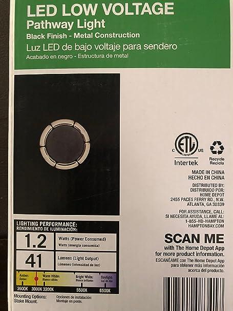 Hampton Bay Low-Voltage LED Black Bollard Light