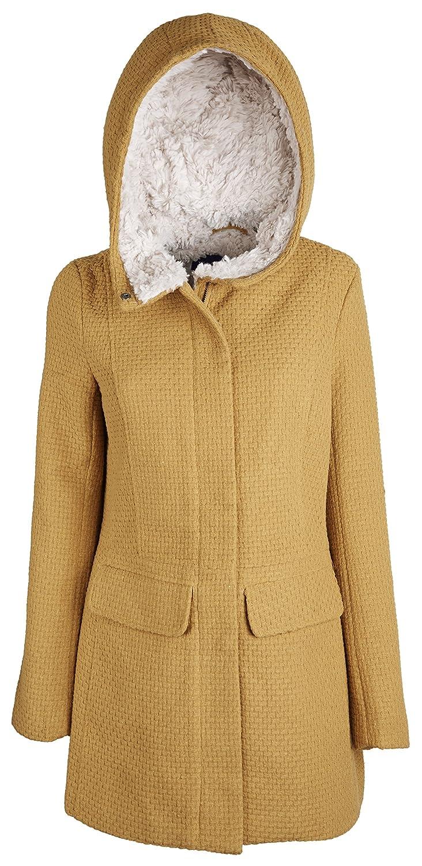 Steve Madden Womens Wool Look Basket Weave Dress Coat with Sherpa Lined Hood