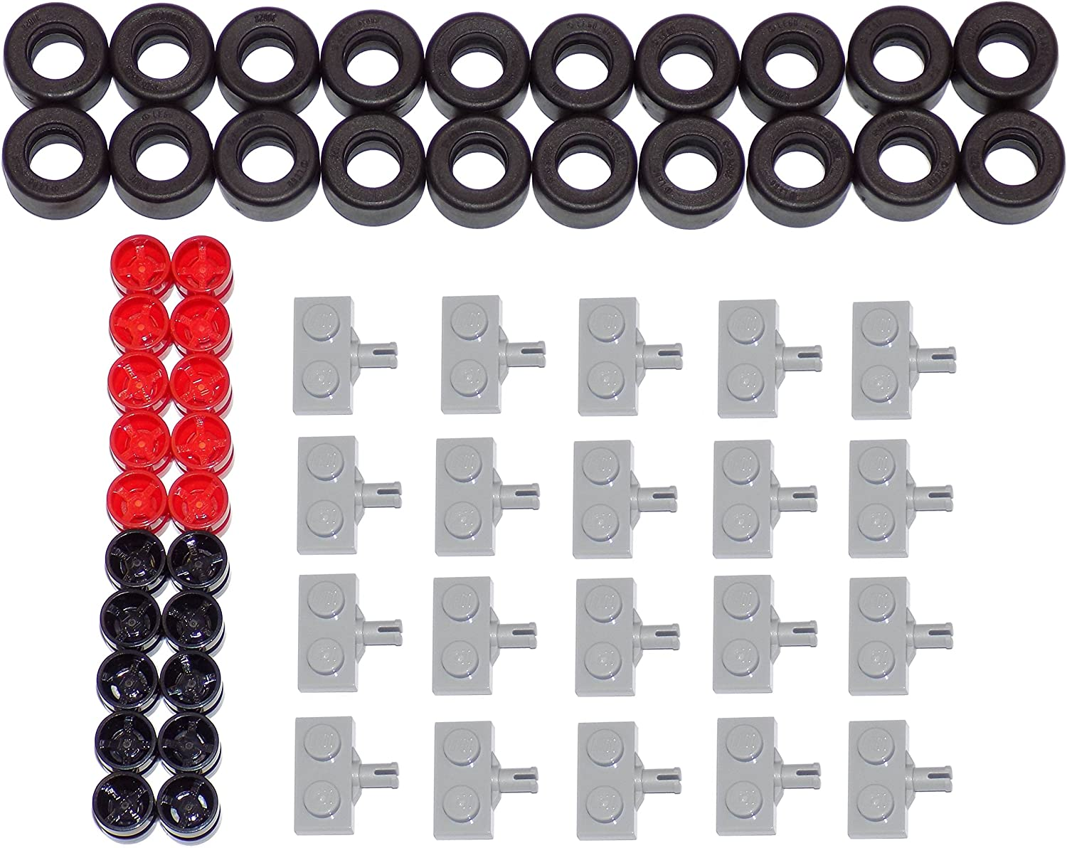 LEGO Parts and Pieces: 14x9mm Black Tire, Black Wheel, Red Wheel, 1x2 Light Gray Wheel Holders Pack - 60 Pieces