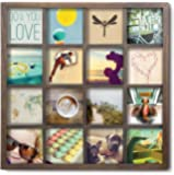 Umbra Gridart 4x4 Picture Frame – DIY Gallery Style Multi Picture Photo Collage Frame, Displays 16 Square 4 by 4 inch Photos, Illustrations, Art, Graphic Text & More, Walnut