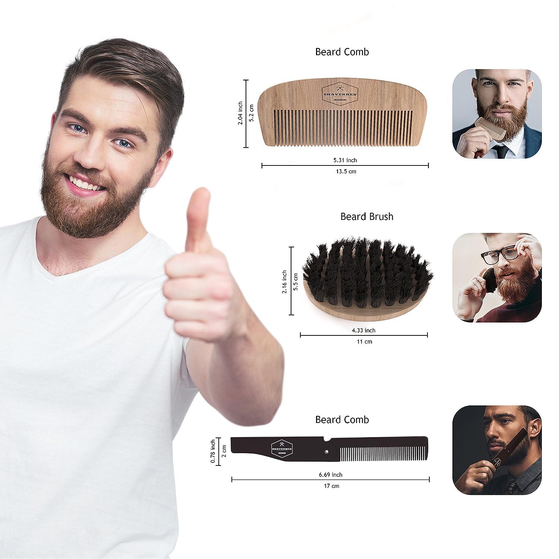 Beard Comb and Brush Set by Shavermen: Beard Brush + Beard Comb + Folding/Pocket Comb + Beard Info | Short Medium and Longer Beards | Helps Itchy + Softening | 100% Boar Bristle Brush, Anti Static SM-23