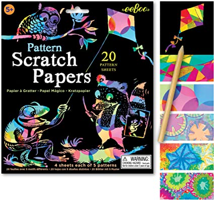 Amazon.com: eeBoo Pattern Scratch Art Papers, 20 Sheets and Bamboo ...